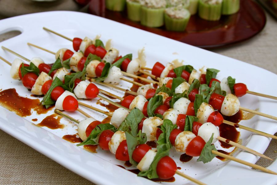 Caprese skewers to snack on before the grill got going...